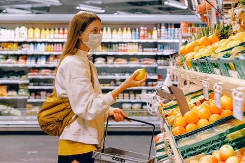 Woman in Grocery Store with Mask On