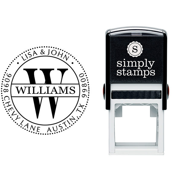 Williams Monogram Address Stamp Body and Imprint