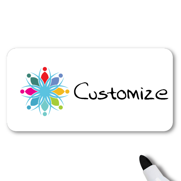 Customized 1.5 x 3 Dry Erase Reusable Name Tag