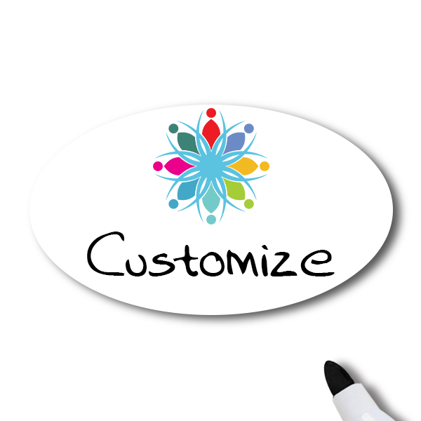 Customized Oval 1.75 x 2.5 Dry Erase Reusable Name Tag