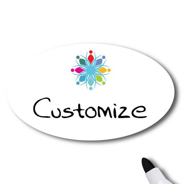 Customized Oval 2 x 3 Dry Erase Reusable Name Tag