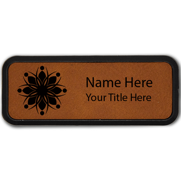 Leatherette Rectangle Name Tag with Frame - 1