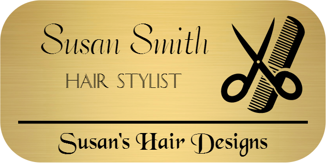 Hair Salon 3 Line Rounded Rectangle Name Tag A