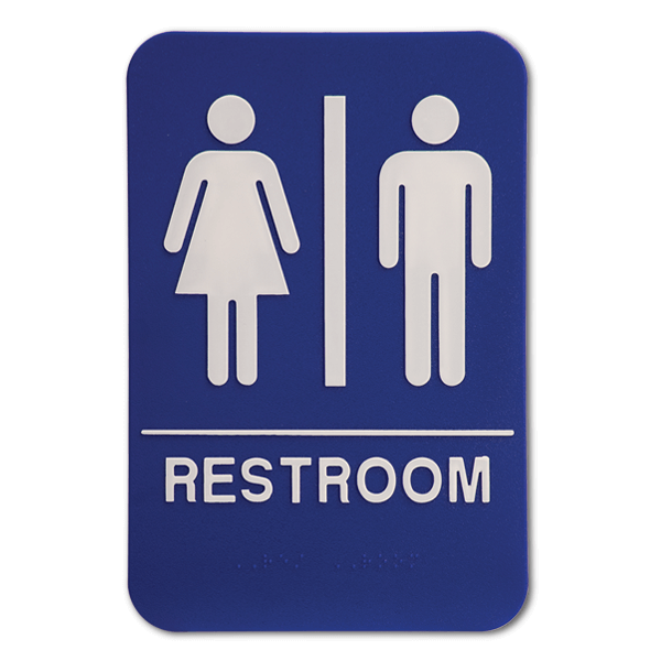 Blue Unisex ADA Braille Restroom Sign