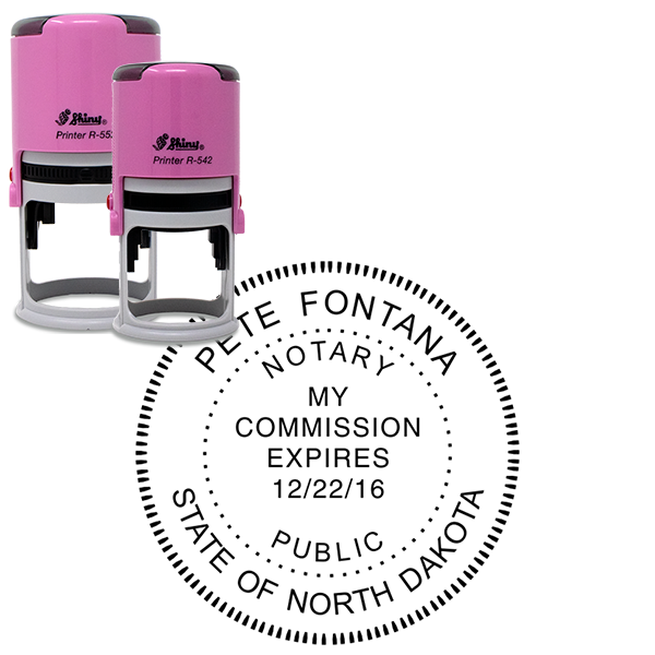 North Dakota Notary Stamp Pink - Round Design