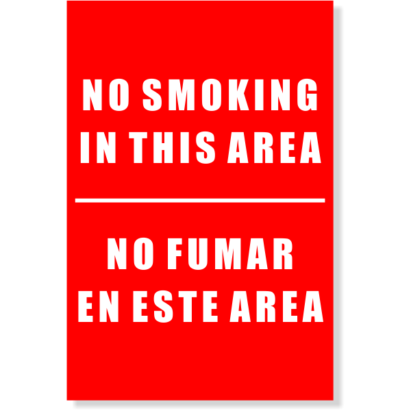 NO SMOKING IN THE AREA Sign | 6