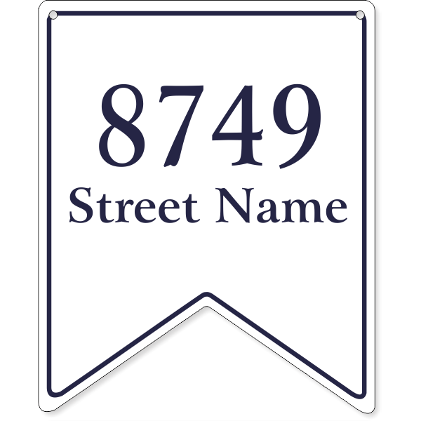 """Bunting Border Home Address Sign w/ Street Name   12"""" x 10"""""""