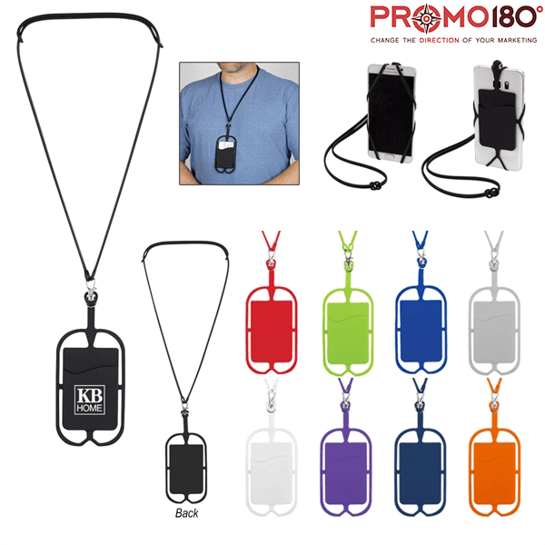 Silicone Lanyard with Phone Holder & Wallet   Promo180