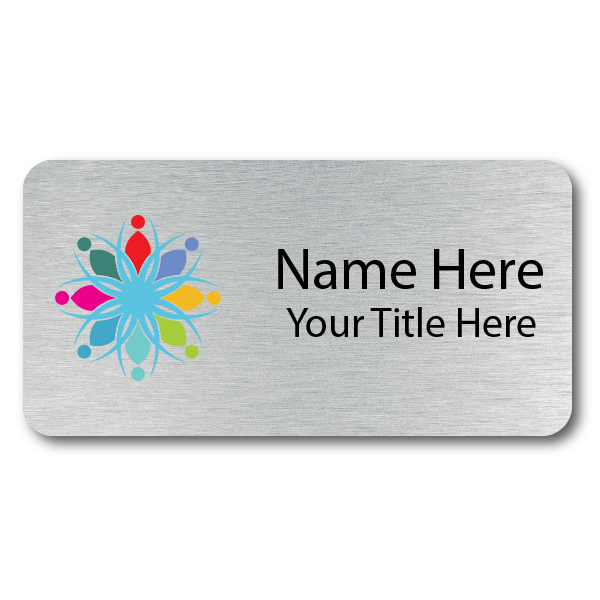 1.25 x 3 Brushed Silver Name Tag