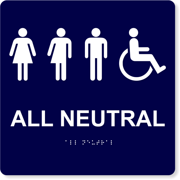 "All Neutral Handicapped Sign - 10"" x 10"""