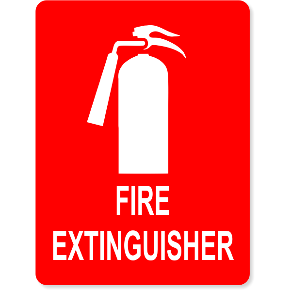 """Fire Extinguisher Sign Icon Engraved Plastic Sign 