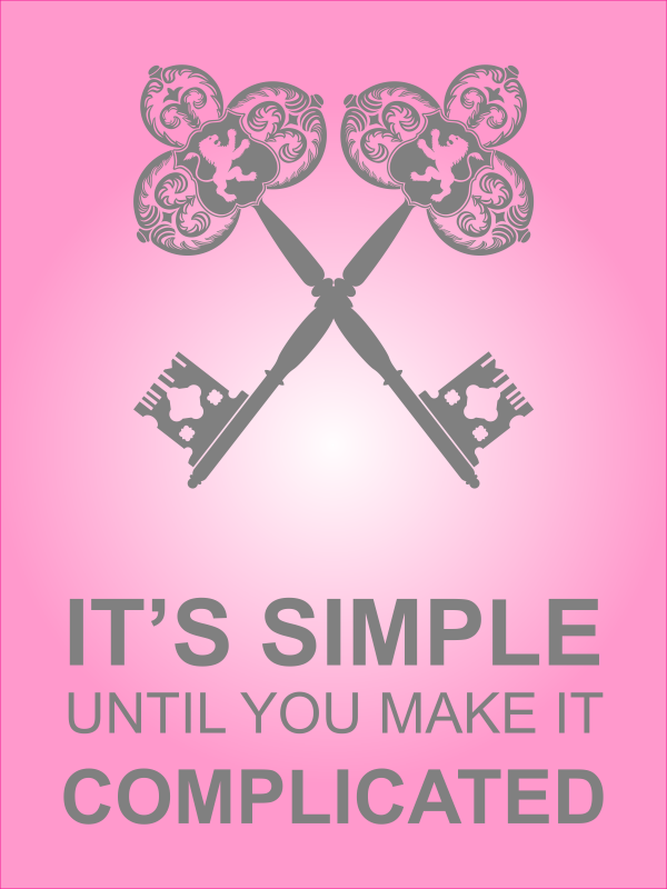 """18"""" x 24"""" It's Simple Until Complicated Poster Sign - Pink"""