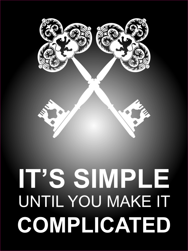 """18"""" x 24"""" It's Simple Until Complicated Poster Sign - Black"""