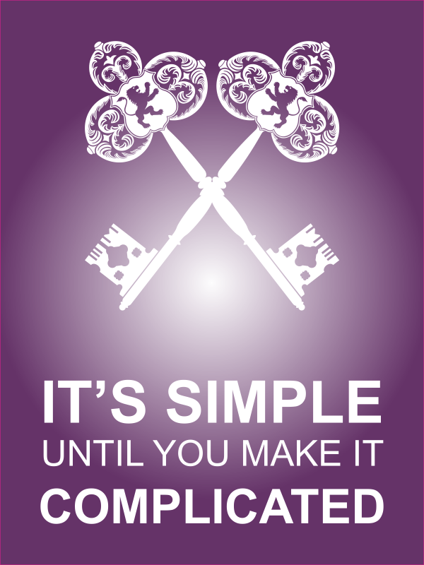 """18"""" x 24"""" It's Simple Until Complicated Poster Sign - Purple"""