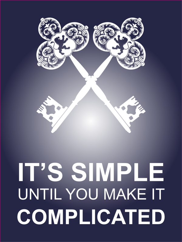 """18"""" x 24"""" It's Simple Until Complicated Poster Sign - Blue"""