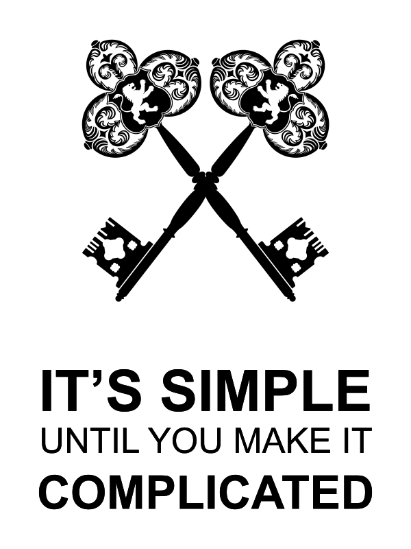 """18"""" x 24"""" It's Simple Until Complicated Poster Sign - White"""