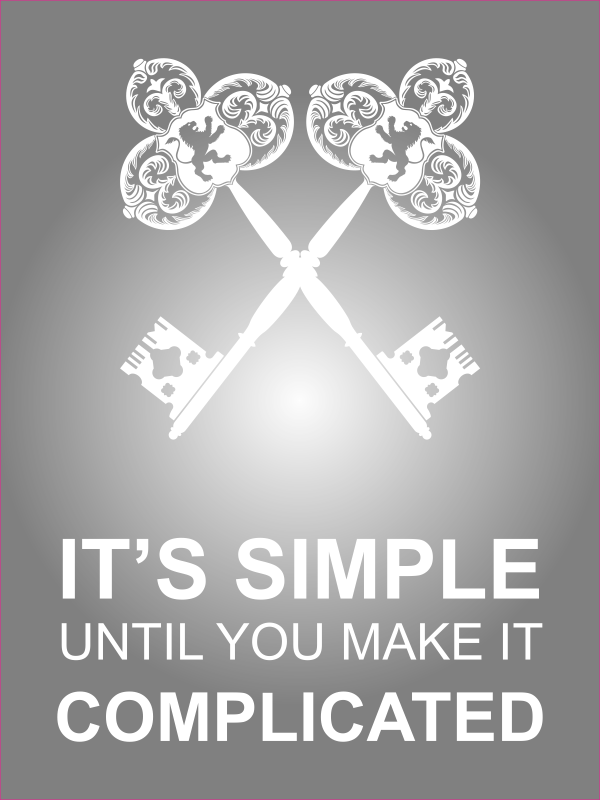 """18"""" x 24"""" It's Simple Until Complicated Poster Sign - Grey"""