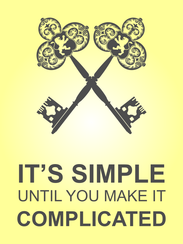 """18"""" x 24"""" It's Simple Until Complicated Poster Sign - Yellow"""