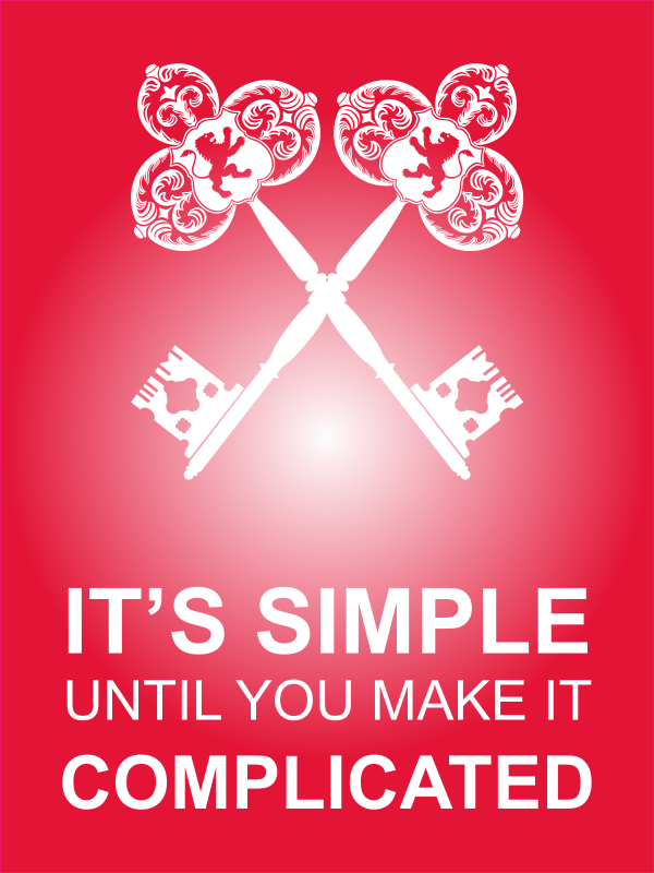 """18"""" x 24"""" It's Simple Until Complicated Poster Sign - Red"""