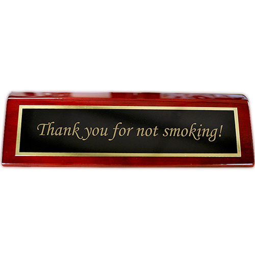 Rosewood Desk Plate Thank you for not smoking - 2