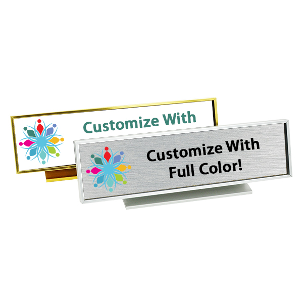 Executive Desk Nameplate Holder with Full Color Insert (Square Corners)