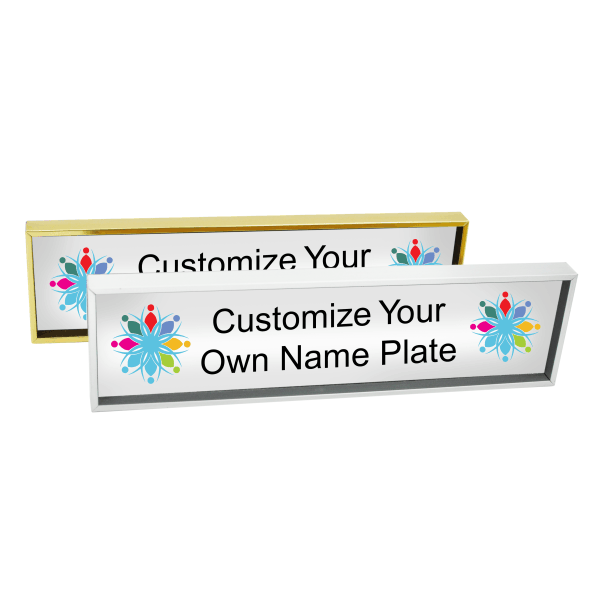 Metal Name Plate with Full Color Insert (Square Corners) 1.75