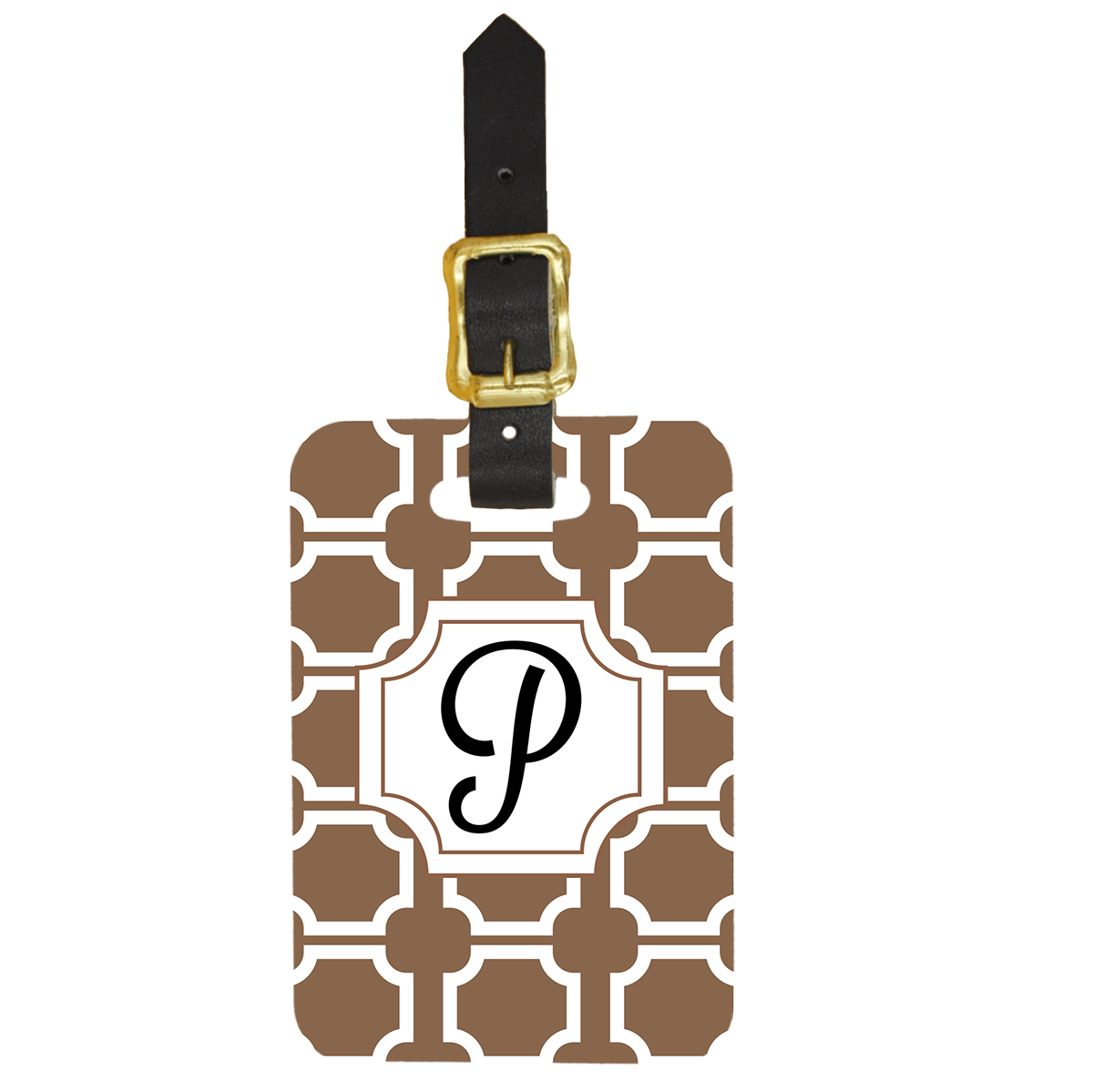 Art Deco Monogram Initial Luggage Tag