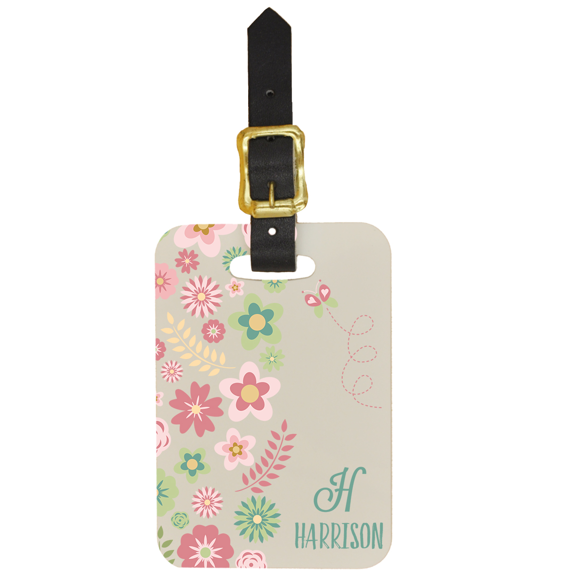 Custom Luggage Tag with Spring Flowers