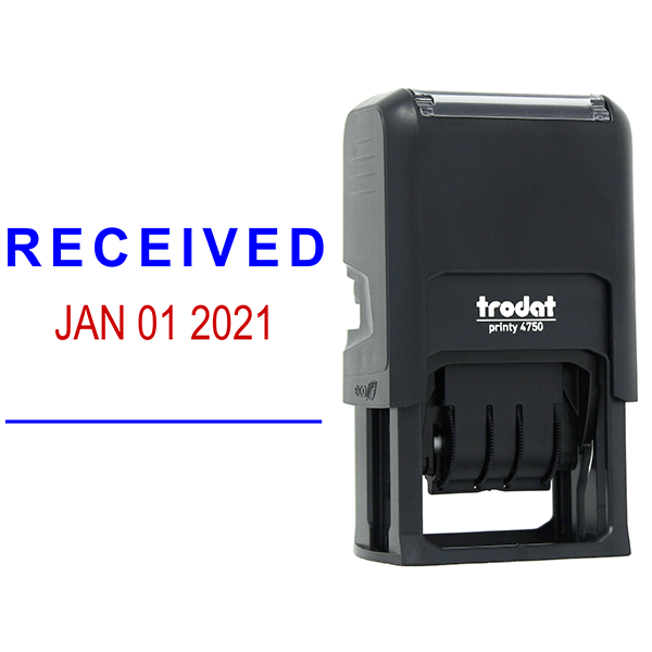 Self-Inking 'Received' Dater Stamp and Imprint Example