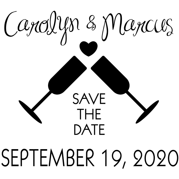 Wine Glass Save the Date Wedding Stamp