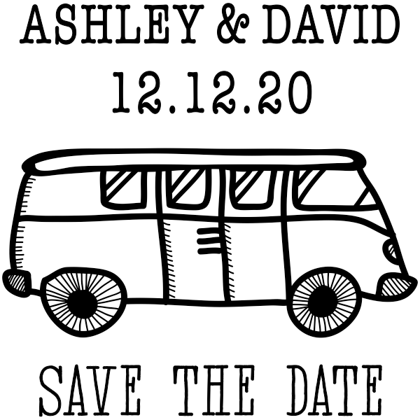 VW Bus Save the Date Stamp