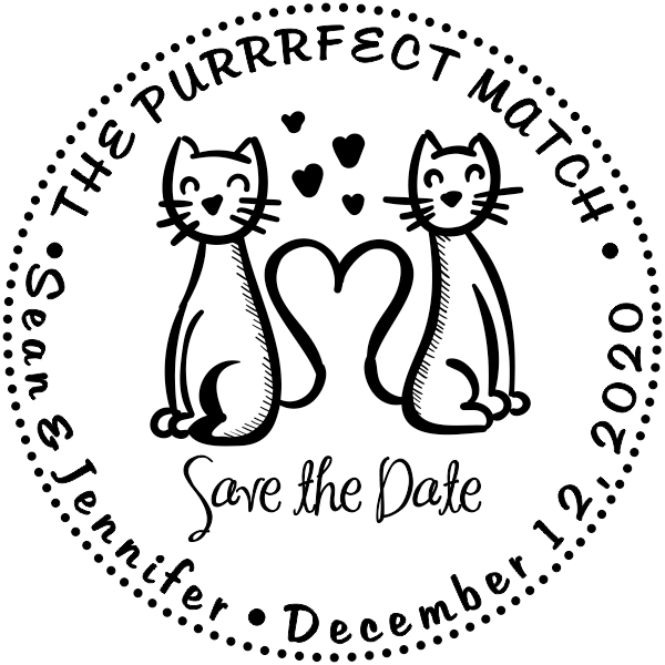 cute save the date stamp w cats holmes custom