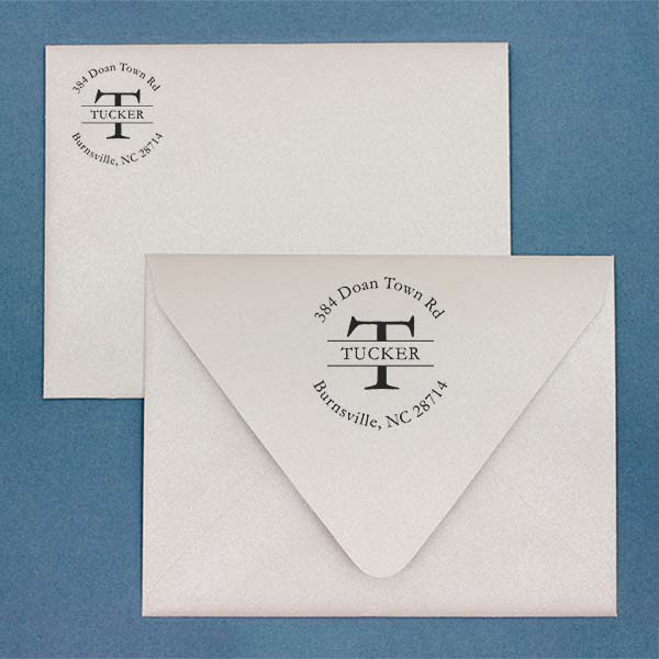 Round Personalized Last Name Address Stamp