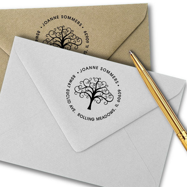 Round Personalized Address Stamp with Tree
