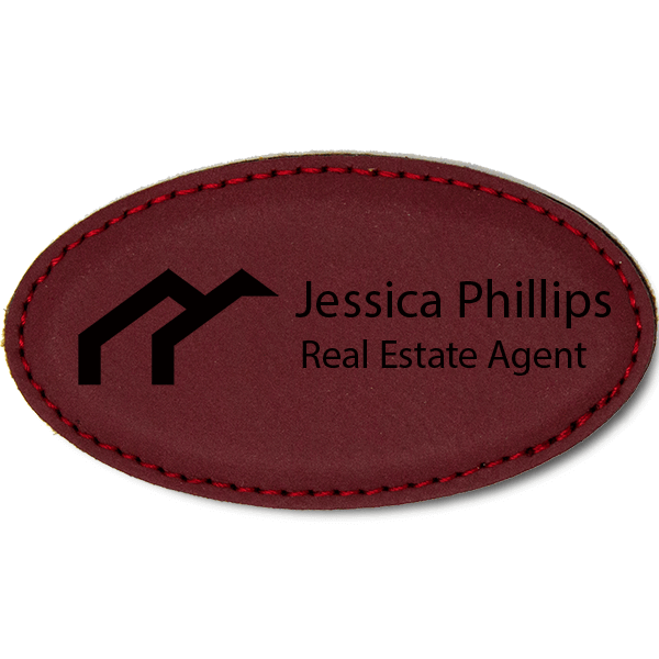 Arches Realtor Leatherette Oval Real Estate Name Tag