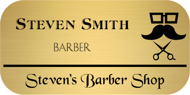 Barber Shop 3 Line Rounded Rectangle Name Tag