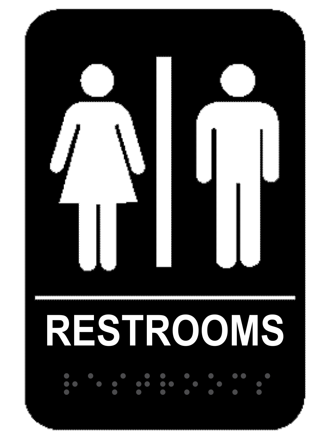 Black Unisex ADA Braille Restrooms Sign