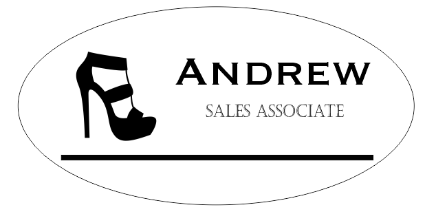 Shoe Store 2 Line Oval Name Tag