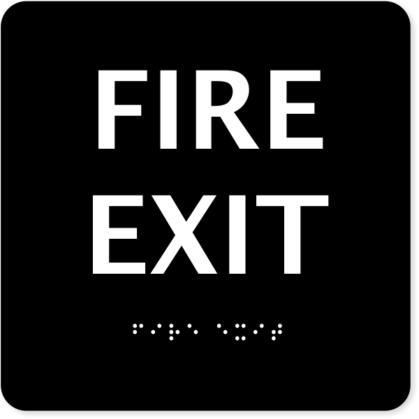 ADA Fire Exit Sign with Braille