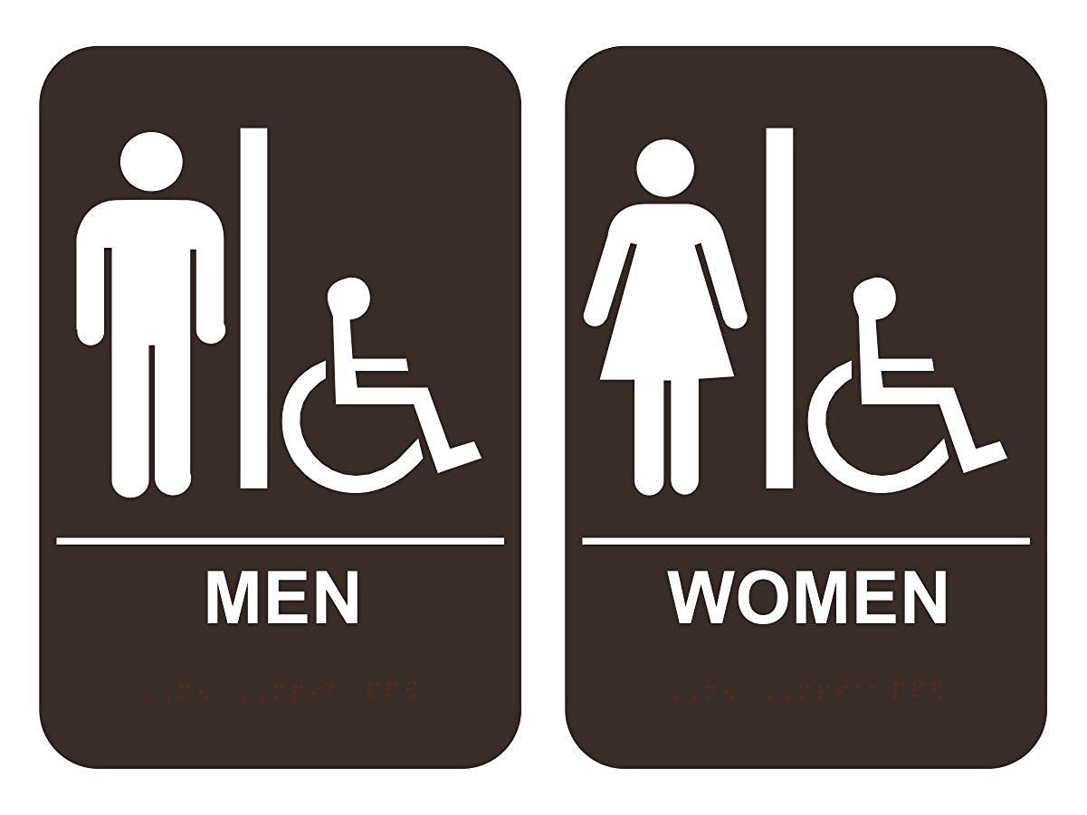 Men's & Women's Handicap Restroom Sign Set ADA-Compliant