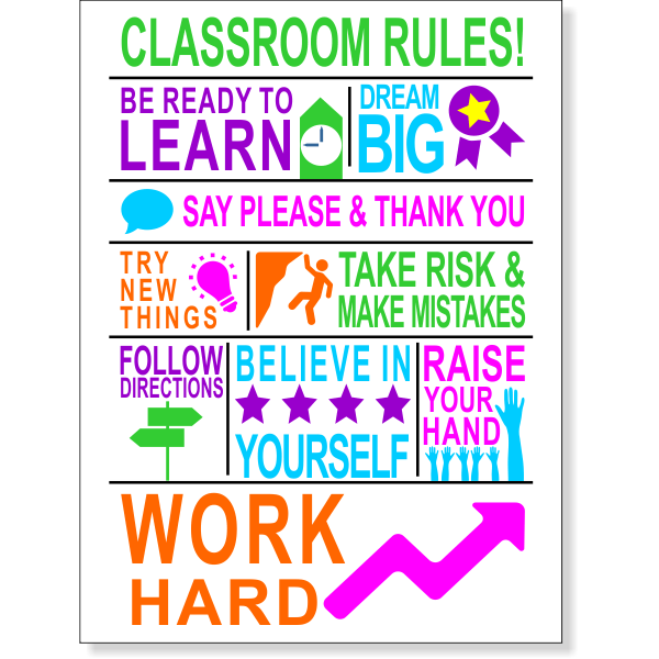 "Classroom Rules School Poster - 12"" x 18"""