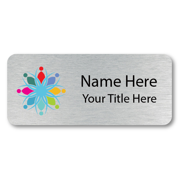 1.5 x 3.5 Brushed Silver Name Tag