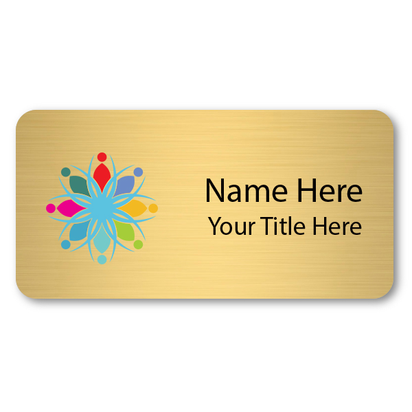1.5 x 3 Brushed Gold Name Tag