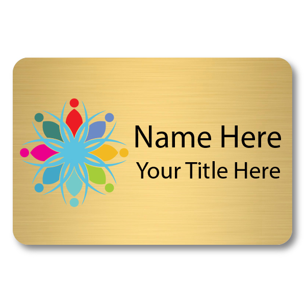 2 x 3 Brushed Gold Name Tag