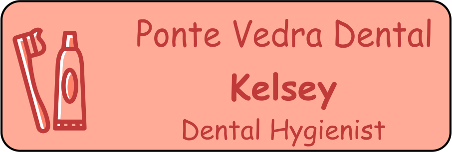 Custom Rectangle 2 Line Dental Logo Name Tag
