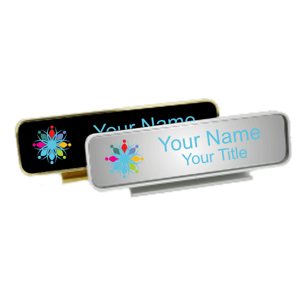 Executive Desk Name Plate Holder with Full Color Insert (Rounded Corners) 1.75