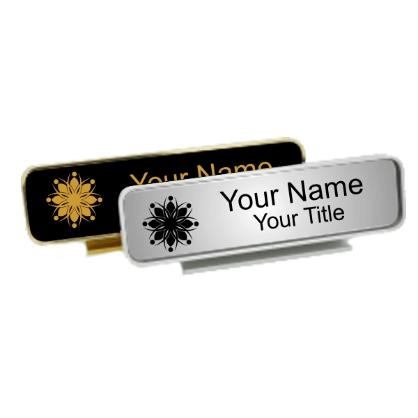 Executive Desk Nameplate Holder with Engraved Insert (Rounded Corners)  1.75