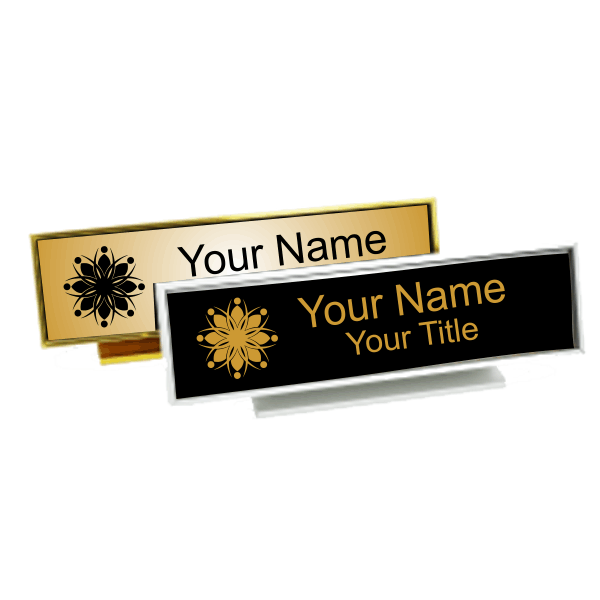 Executive Desk Nameplate Holder with Engraved Insert (Square Corners)  1.75