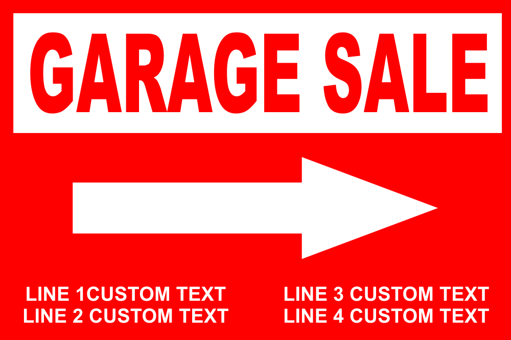 Customized Garage Sale Yard Sale Sign with Stake - 18