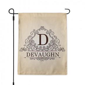 Ornate Monogram Custom Family Name Garden Flag